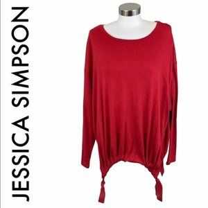 JESSICA SIMPSON NWT RED LIGHTWEIGHT KNIT TOP 2X